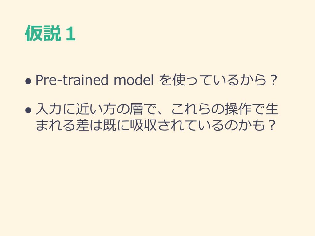 仮説1 l Pre-trained model を使っているから? l ⼊⼒に近い⽅の層で、こ...