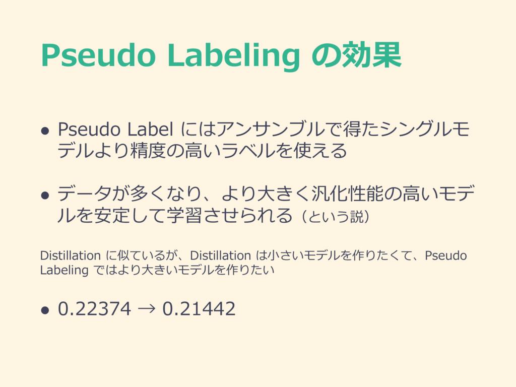 Pseudo Labeling の効果 l Pseudo Label にはアンサンブルで得たシ...