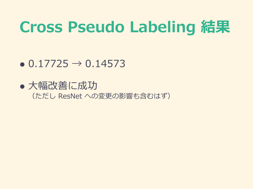 Cross Pseudo Labeling 結果 l 0.17725 → 0.14573 l ...