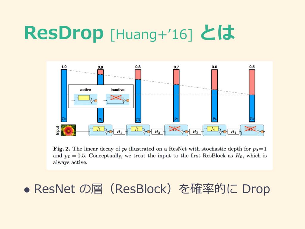 ResDrop [Huang+'16] とは l ResNet の層(ResBlock)を確率...