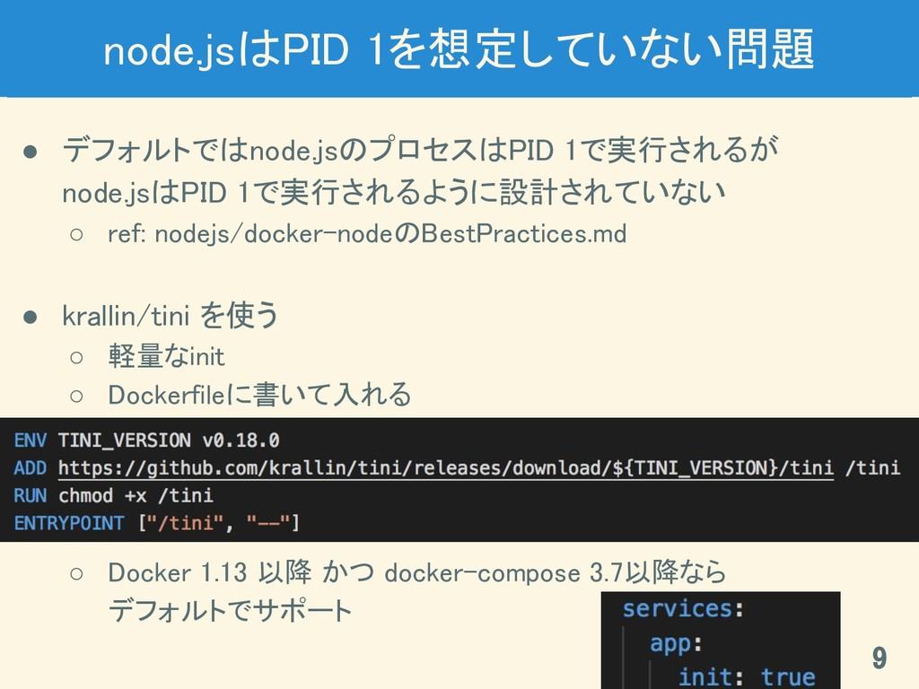 node.jsはPID 1を想定していない問題 ● デフォルトではnode.jsのプロセスはP...