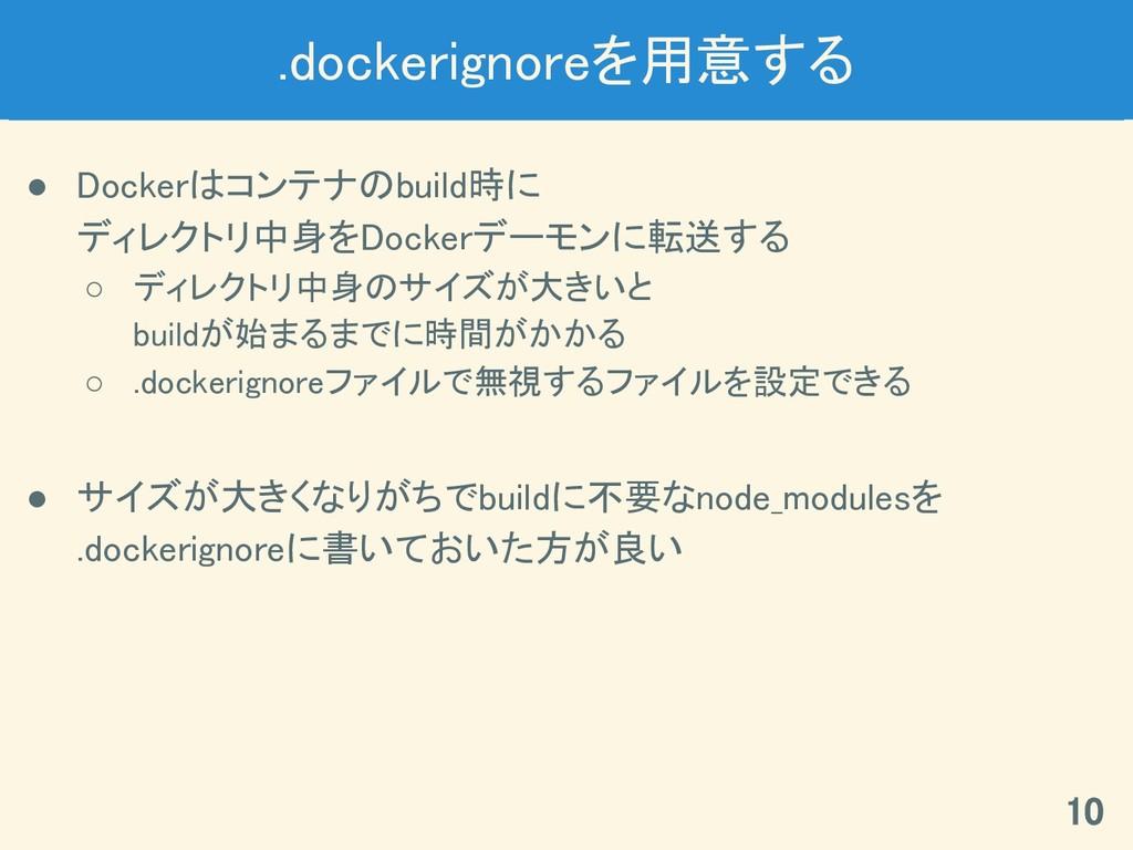 .dockerignoreを用意する ● Dockerはコンテナのbuild時に ディレクトリ...