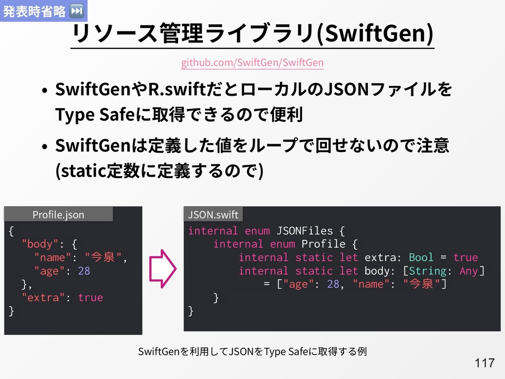 A117 リソース管理ライブラリ(SwiftGen) • SwiftGenやR.swiftだと...