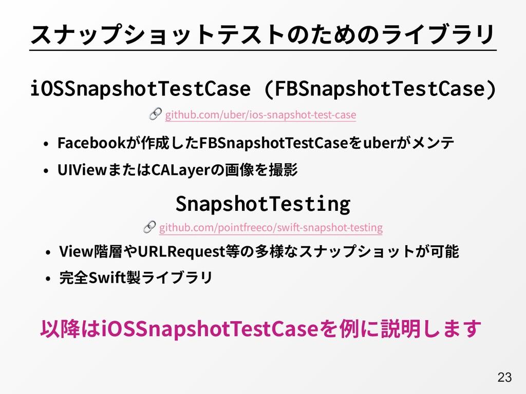 A23 スナップショットテストのためのライブラリ • Facebookが作成したFBSnaps...