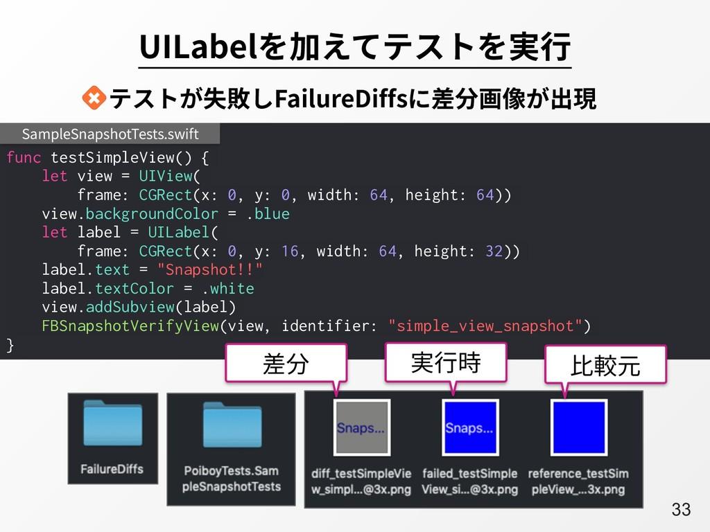 A33 UILabelを加えてテストを実⾏ func testSimpleView() { l...