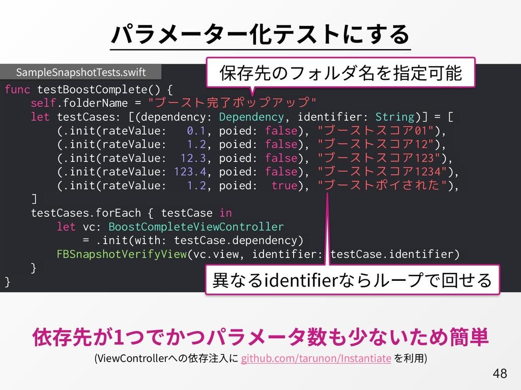A48 パラメーター化テストにする func testBoostComplete() { se...