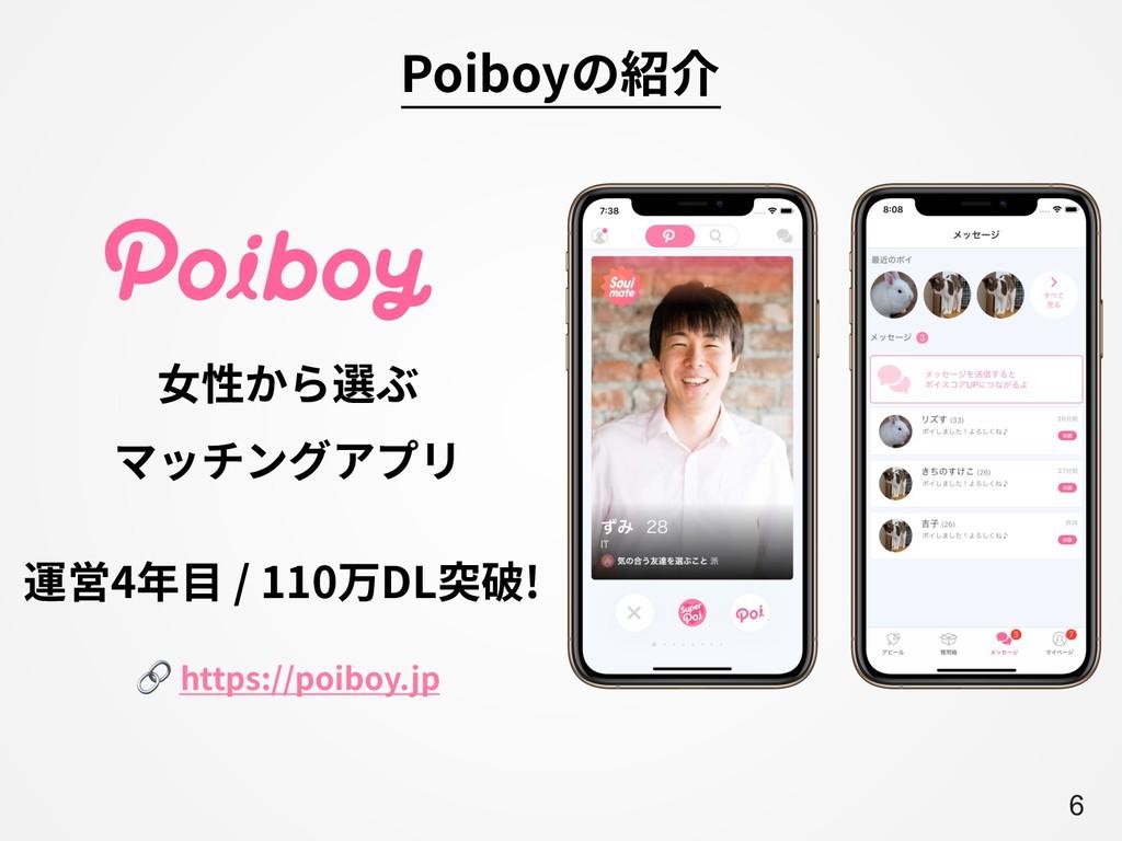 A6 ⼥性から選ぶ マッチングアプリ 運営4年⽬ / 110万DL突破! Poiboyの紹介 ...