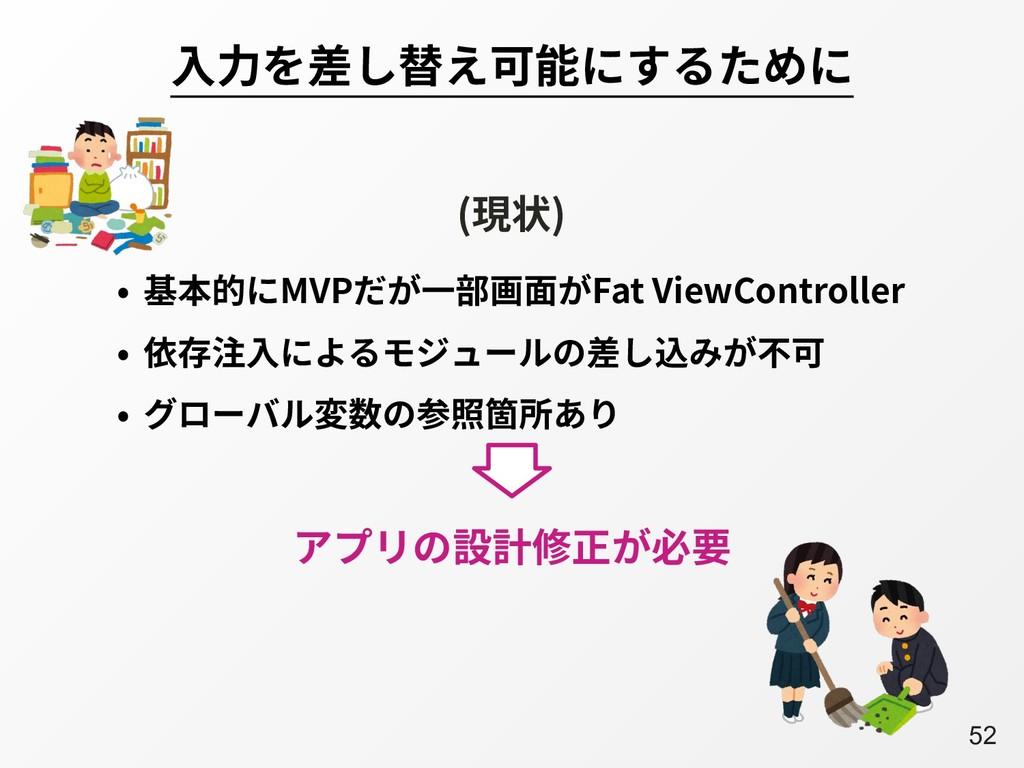 A52 ⼊⼒を差し替え可能にするために • 基本的にMVPだが⼀部画⾯がFat ViewCon...