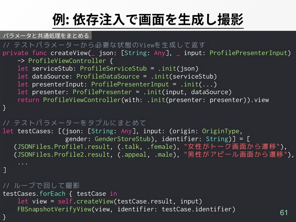// テストパラメーターから必要な状態のViewを生成して返す private func cr...
