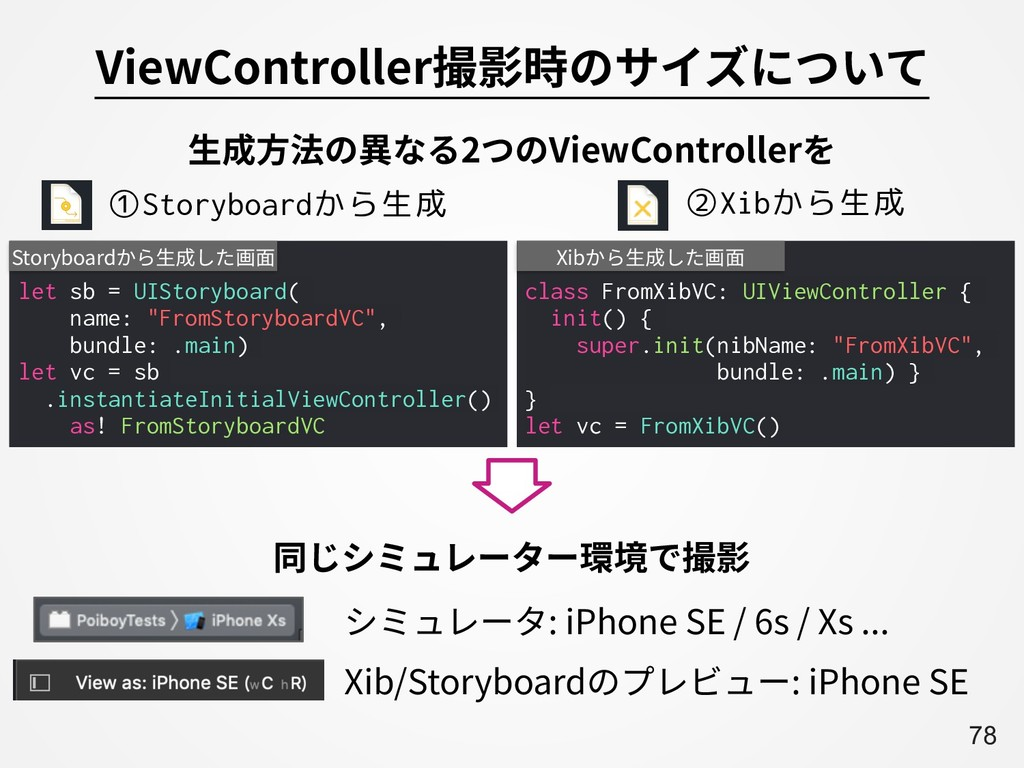 A78 ViewController撮影時のサイズについて class FromXibVC: ...