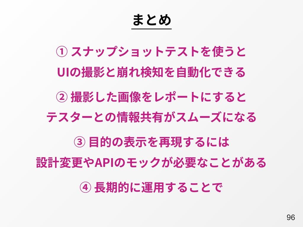 A96 まとめ ① スナップショットテストを使うと UIの撮影と崩れ検知を⾃動化できる ③ ⽬...