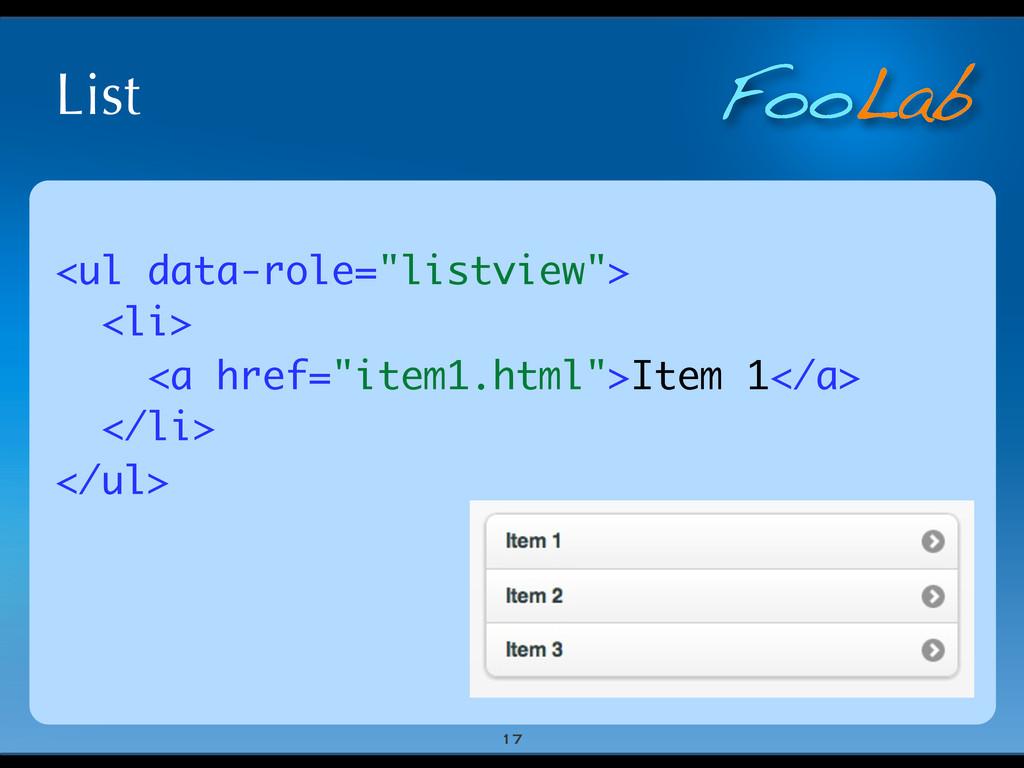 "FooLab List 17 <ul data-role=""listview""> <li> <..."