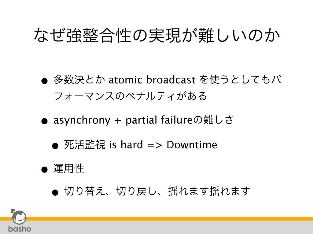 ͳͥڧ߹ੑͷ࣮ݱ͕͍͠ͷ͔ • ଟܾͱ͔ atomic broadcast Λ͏ͱͯ͠...