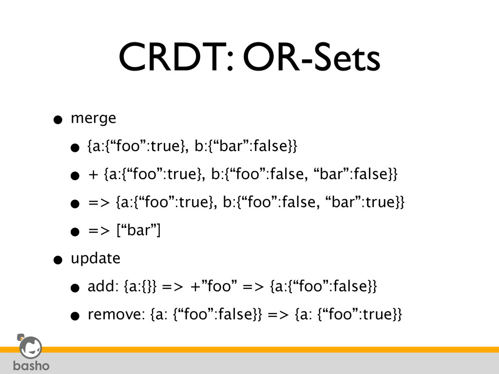 "CRDT: OR-Sets • merge • {a:{""foo"":true}, b:{""ba..."