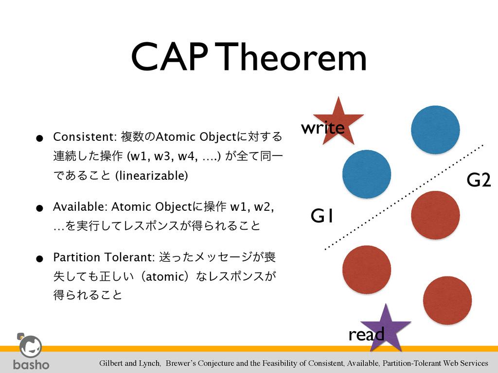 CAP Theorem • Consistent: ෳͷAtomic Objectʹର͢Δ ...