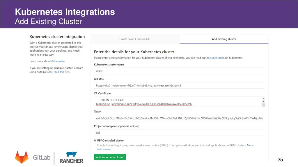 Kubernetes Integrations Add Existing Cluster 25
