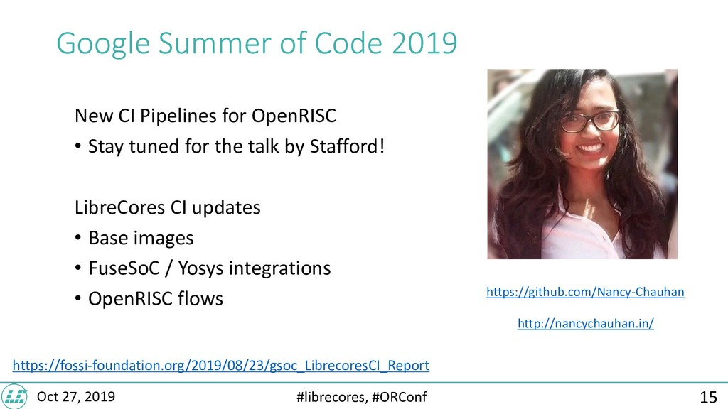 #librecores, #ORConf Oct 27, 2019 Google Summer...