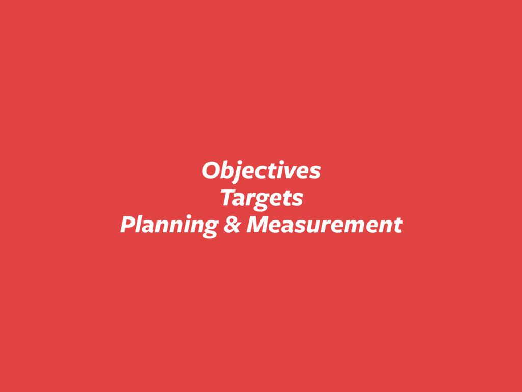 Objectives Targets Planning & Measurement