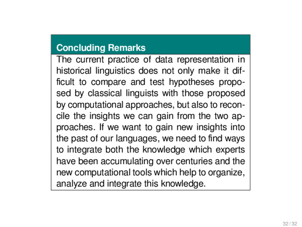 Concluding Remarks The current practice of data...