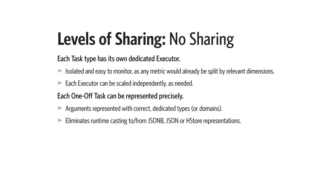 Levels of Sharing: No Sharing Each Task type ha...