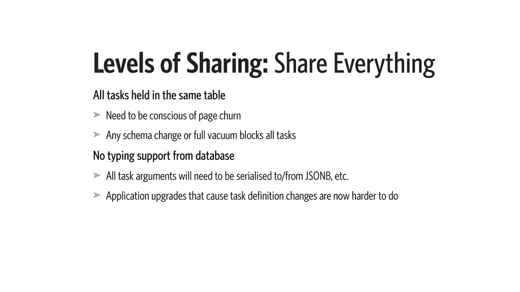 Levels of Sharing: Share Everything All tasks h...