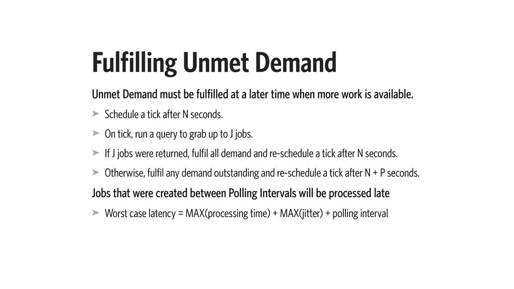 Fulfilling Unmet Demand Unmet Demand must be fu...