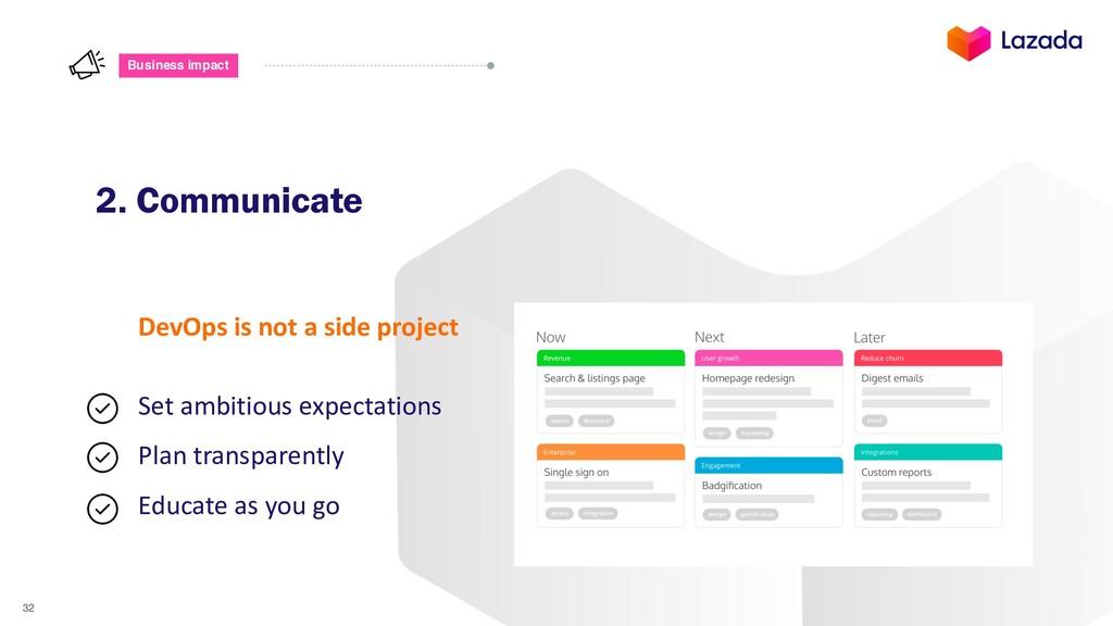 32 Business impact 2. Communicate DevOps is not...