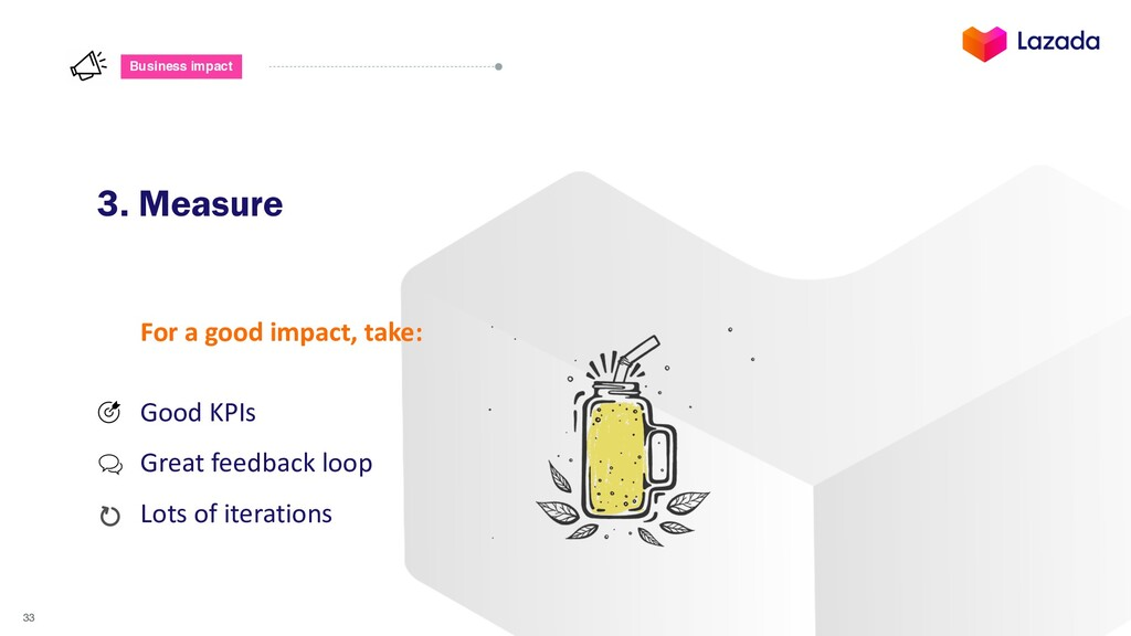33 Business impact 3. Measure For a good impact...