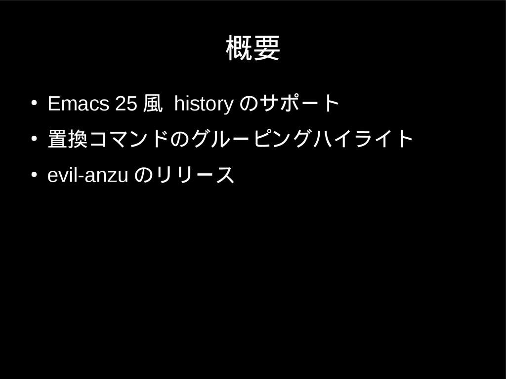 概要 ● Emacs 25 風 history のサポート ● 置換コマンドのグルーピングハイ...