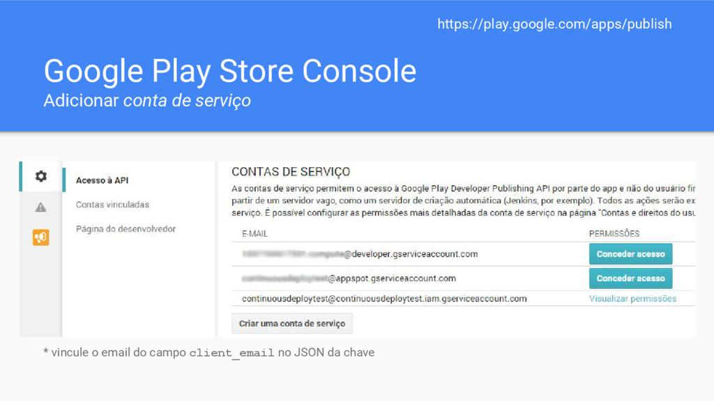 Google Play Store Console Adicionar conta de se...