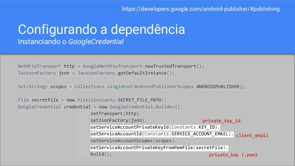 Configurando a dependência Instanciando o Googl...