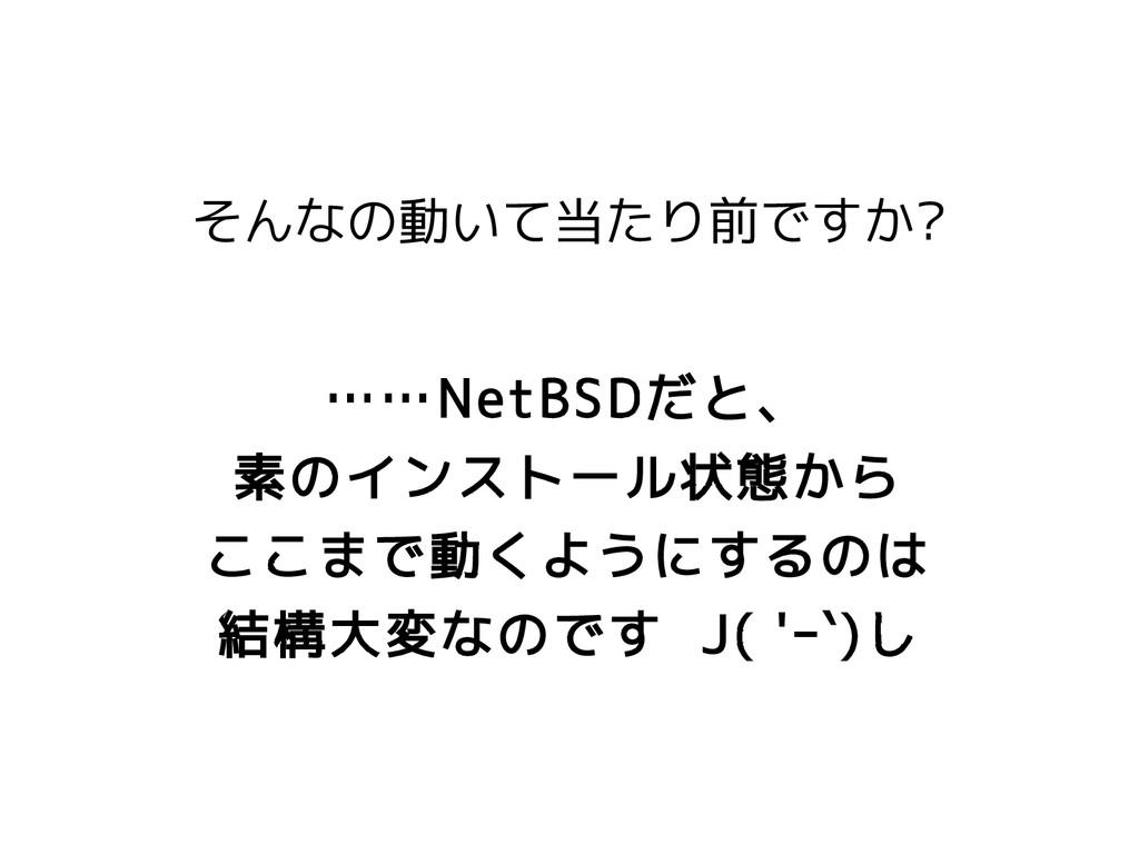 そんなの動いて当たり前ですか? ……NetBSDだと、 素のインストール状態から ここまで動く...