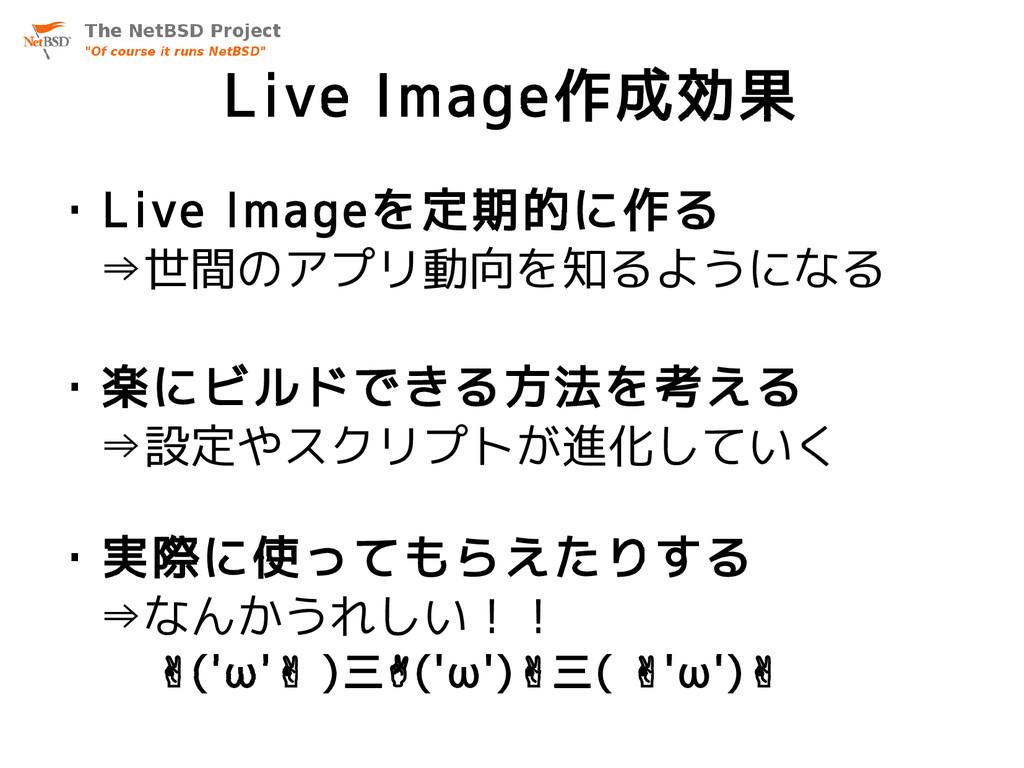 Live Image作成効果 ・Live Imageを定期的に作る ⇒世間のアプリ動向を知るよ...