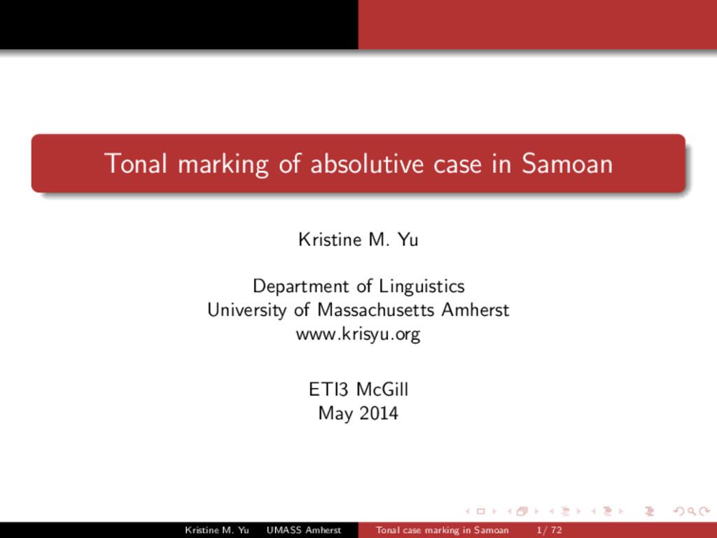Tonal marking of absolutive case in Samoan Kris...