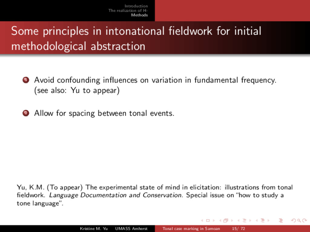 Introduction The realization of H- Methods Some...