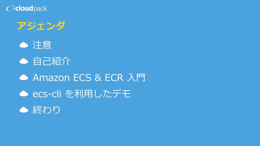 アジェンダ ☁ 注意 ☁ ⾃⼰紹介 ☁ Amazon ECS & ECR ⼊⾨ ☁ ecs-c...