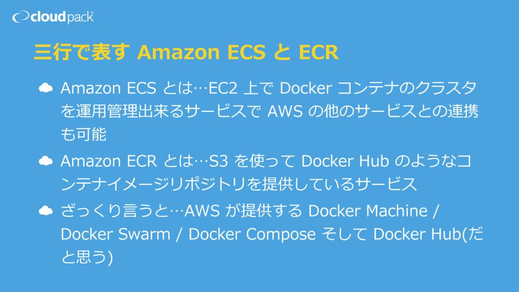 三⾏で表す Amazon ECS と ECR ☁ Amazon ECS とは…EC2 上で D...