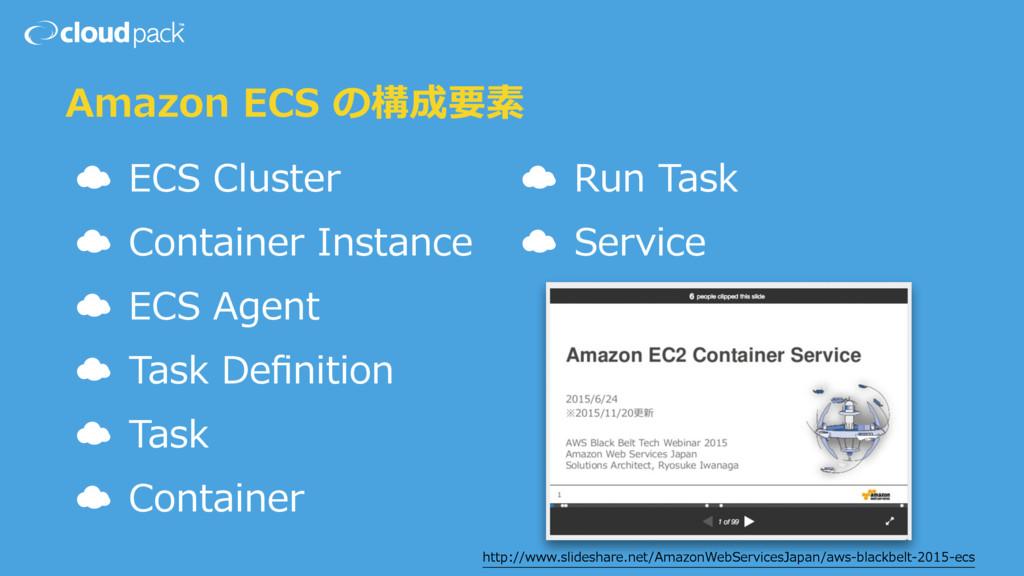 Amazon ECS の構成要素 ☁ ECS Cluster ☁ Container Inst...