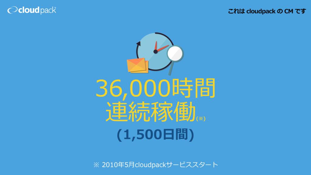 (1,500⽇間) ※ 2010年5⽉cloudpackサービススタート 36,000時間 連...