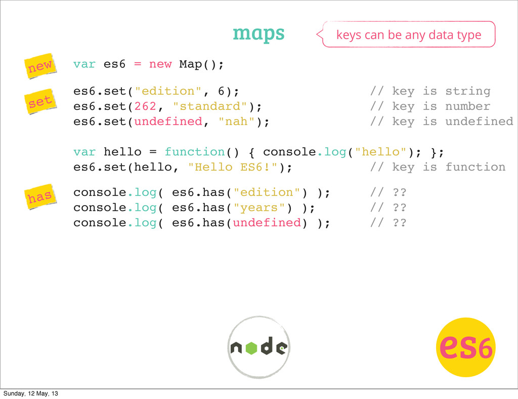 var es6 = new Map(); maps es6 new set has keys ...