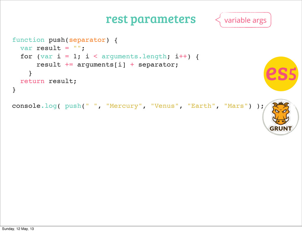 rest parameters variable args es5 function push...