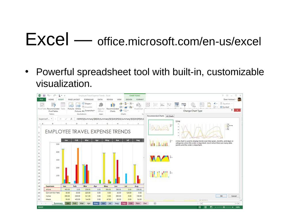 Excel — office.microsoft.com/en-us/excel • Powe...