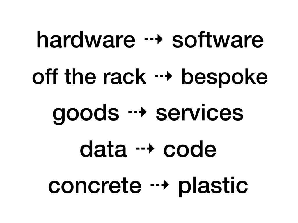hardware ⇢ software goods ⇢ services off the ra...