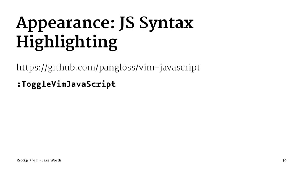 Appearance: JS Syntax Highlighting https://gith...