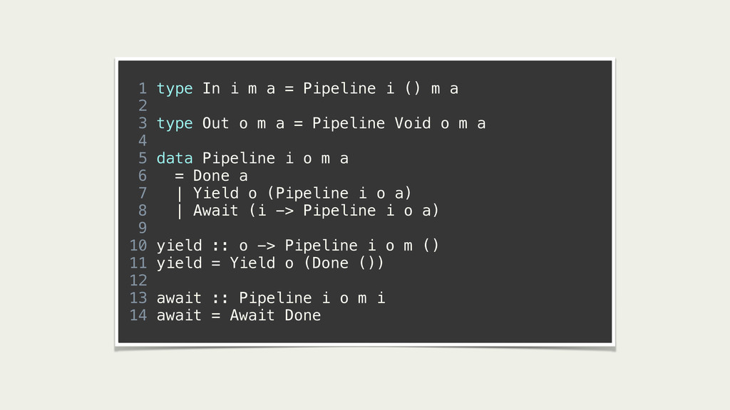 1 type In i m a = Pipeline i () m a 2 3 type Ou...