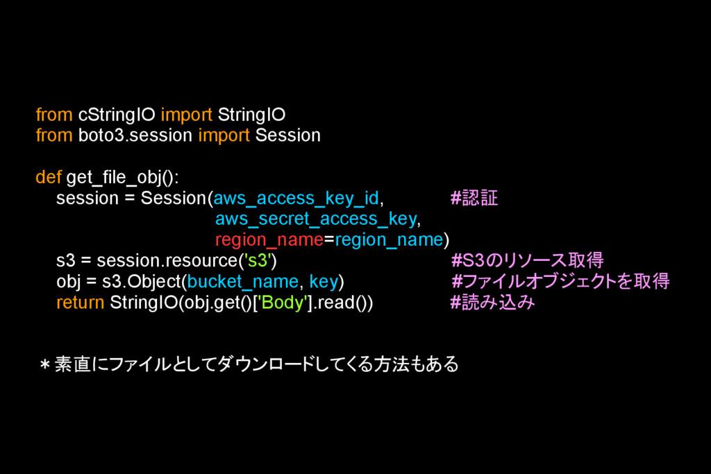 from cStringIO import StringIO from boto3.sessi...