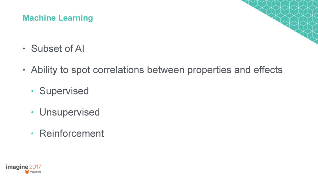 Machine Learning • Subset of AI • Ability to sp...
