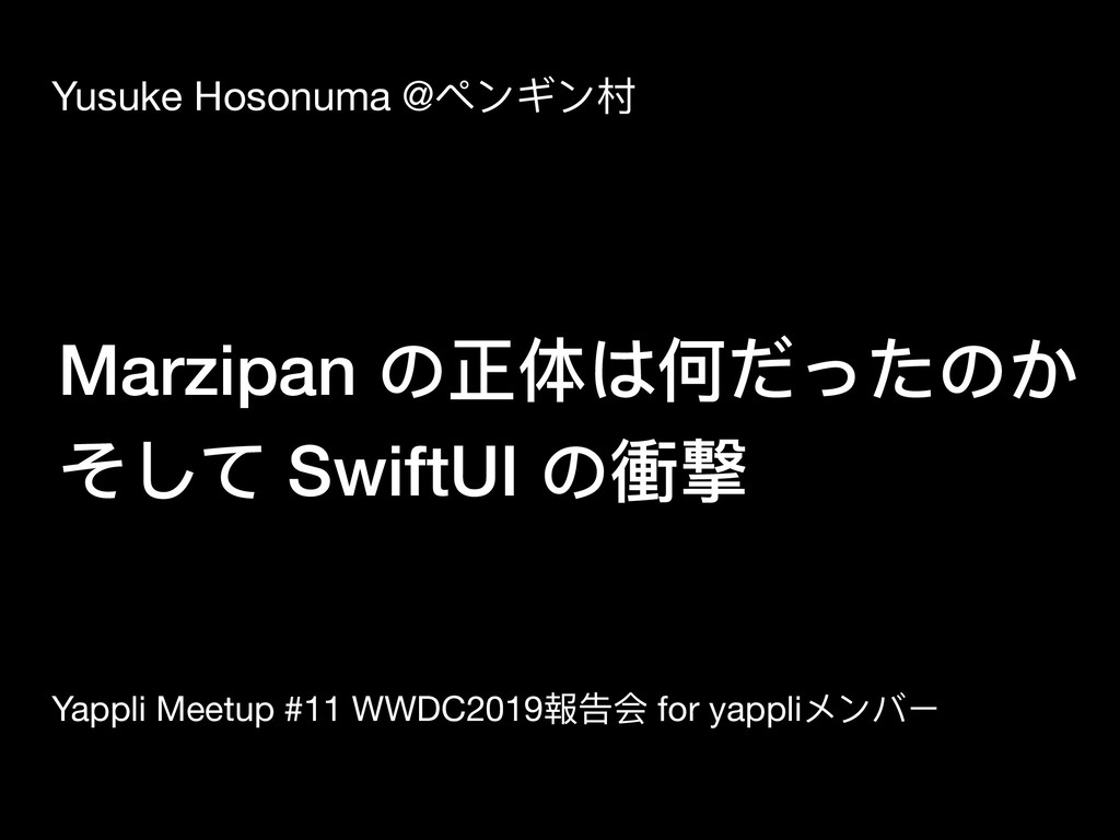 Marzipan の正体は何だったのか そして SwiftUI の衝撃 Yusuke Hoso...