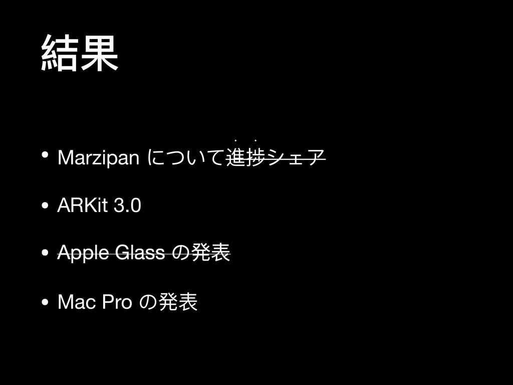 結果 • Marzipan について進捗シェア  w w • ARKit 3.0  • App...