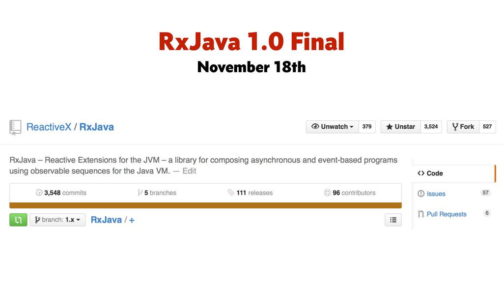 RxJava 1.0 Final November 18th